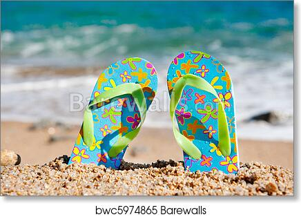 Art Print Of Standing Flip Flops At The Beach