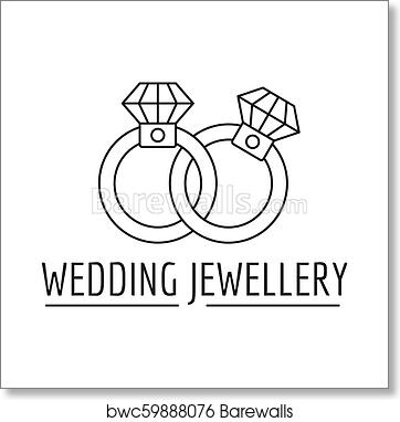 Art Print Of Wedding Rings Jewelry Logo Outline Style Barewalls