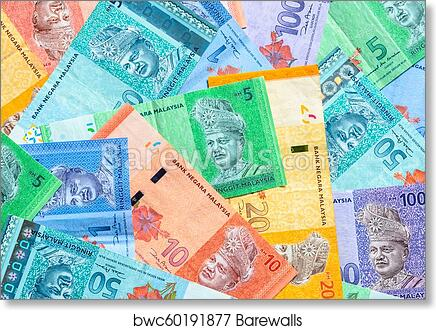Malaysian ringgit banknotes background  Financial concept  art print poster