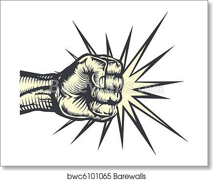 Fist Punching Art Print Barewalls Posters Prints Bwc6101065