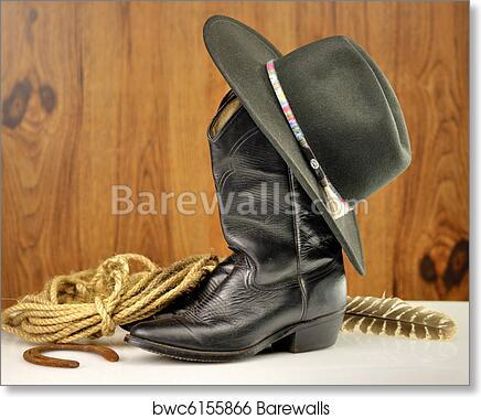 Art Print of Cowboy hat and boots  4e7782480e2