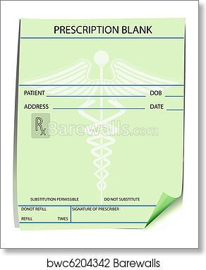 Art Print Of Blank Prescription Form