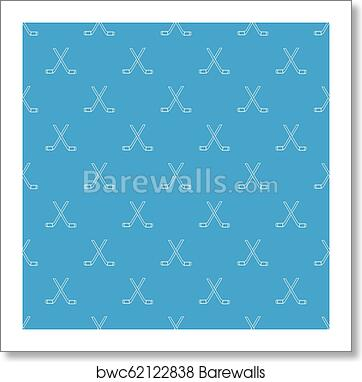 96e06ef7543 Art Print of Two crossed hockey sticks pattern vector seamless blue ...