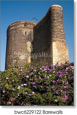 F Wall Art Poster Maidens Tower Baku Azerbaijan Art//Canvas Print Home Decor