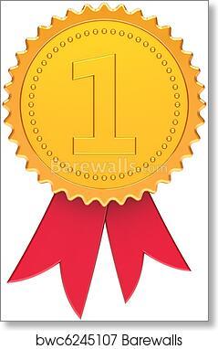 Art Print Of First Place Champion Award Ribbon
