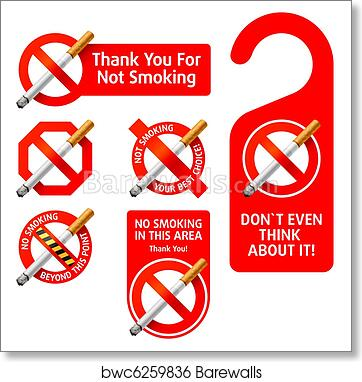picture about Printable No Smoking Signs identify No Using tobacco signs or symptoms artwork print poster