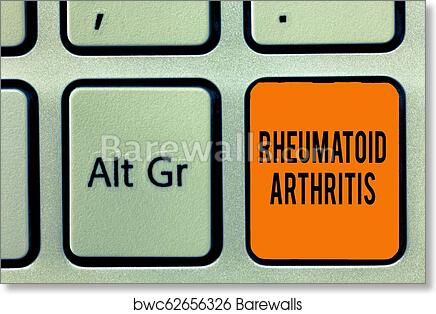 Handwriting text writing Rheumatoid Arthritis  Concept meaning autoimmune  disease that can cause joint pain and damage art print poster