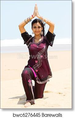 Indian Woman Doing Yoga On Beach Art Print Barewalls Posters Prints Bwc6276445