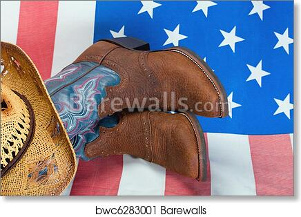 Art Print of Cowboy boots and straw hat  b4507e70e933