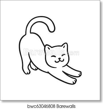 Cartoon Cat Stretch Art Print Barewalls Posters Prints Bwc63046808
