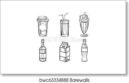 Collection Of Beverages Soda Drink Milkshake Paper Box Of Milk Juice Hand Drawn Vector Illustration On A White Background Art Print Barewalls Posters Prints Bwc63334888,Cooking Chestnuts On Open Fire