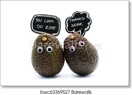 Romantic Avocados Couple With Googly Eyes And Speech Bubble As Man And Woman Funny Food Concept For Creative Projects Art Print Poster
