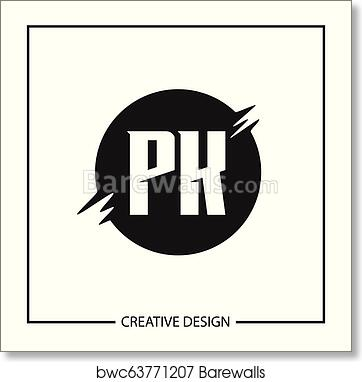 Initial Letter Pk Logo Template Design Vector Illustration Art Print Poster
