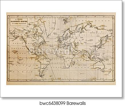 Art Print of Old hand drawn vintage world map | Barewalls Posters ...