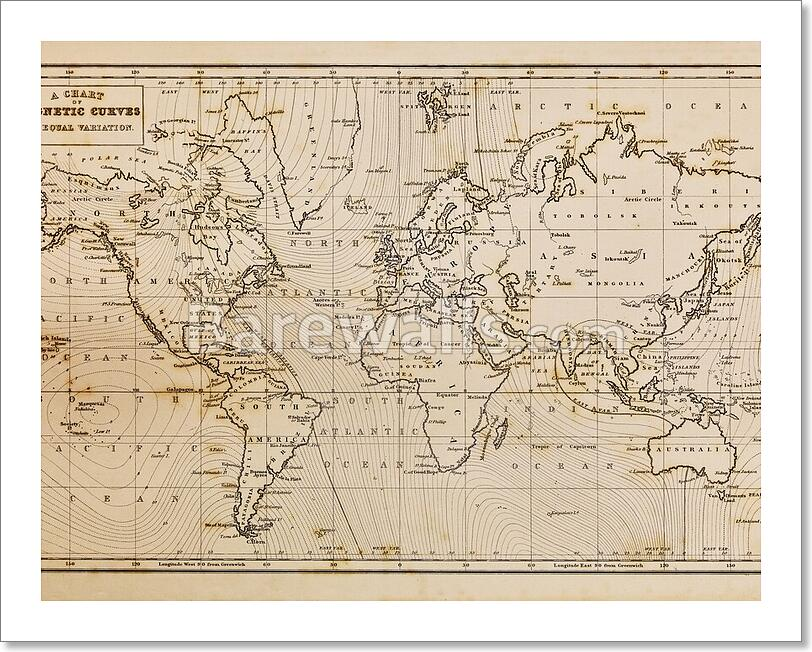 Old hand drawn vintage world map art printcanvas print home decor photo of a genuine hand drawn world map it was drawn in 1844 and therefore the countries are named as they were in that period of time in the 19th century gumiabroncs Image collections