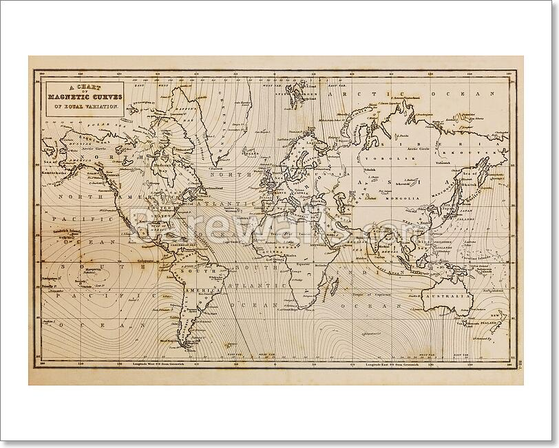 Old Hand Drawn Vintage World Map Art Print/Canvas Home Decor Wall ...