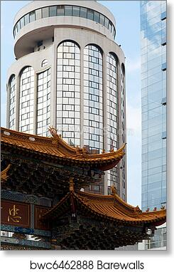 art print of modern traditional chinese architecture barewalls