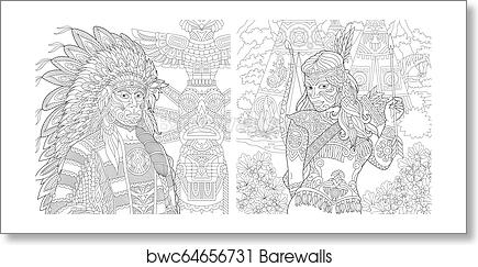 Coloring pages with Native American people, Art Print | Barewalls ...
