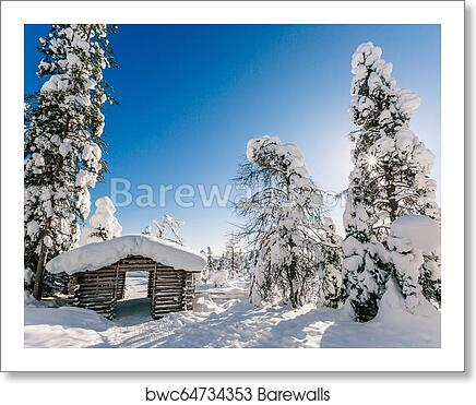 Winter Snow Covered Wood Hut Frozen Log Cabin In Finland Art Print Barewalls Posters Prints Bwc64734353