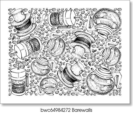 Hand Drawn Background Of Coffee Maker With Coffee Beans Art Print Barewalls Posters Prints Bwc64984272
