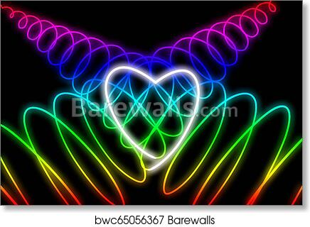 Abstract Neon Heart Shape On Dark Background Design For Happy Valentine S Day Art Print Poster