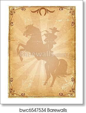 cowboy old paper background retro rodeo poster art print poster