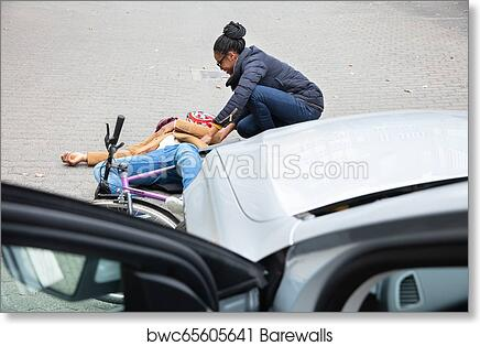 Woman Looking At Unconscious Male Cyclist Lying On Street art print poster