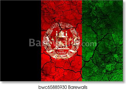 Afghanistan Country Flag Painted On A Cracked Grungy Wall Art Print Barewalls Posters Prints Bwc65885930