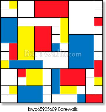 Abstract Polygonal Background With Rectangular Shapes Colorful Mosaic Pattern Retro Bauhaus De Stijl Design Art Print Poster