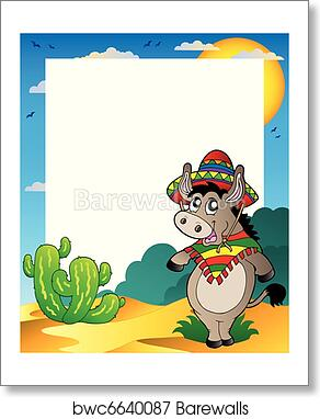 Frame with Mexican donkey art print poster