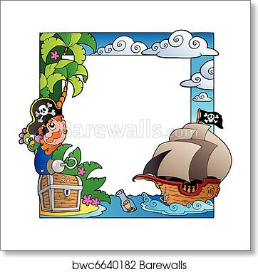 Art Print Of Frame With Sea And Pirate Theme 2 Barewalls Posters