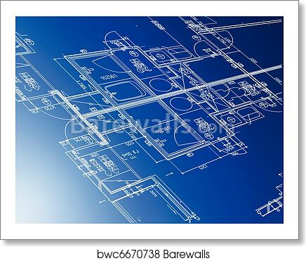 Art print of sample of architectural blueprints barewalls posters art print of sample of architectural blueprints malvernweather Image collections
