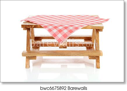 Art Print Of Empty Picnic Table With Tablecloth Barewalls Posters - Picnic table print