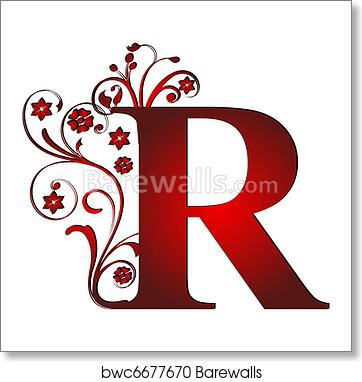 Letter Art Print.Capital Letter R Red Art Print Poster