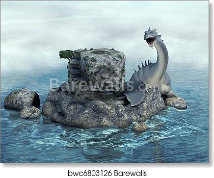 Sea monster art print poster