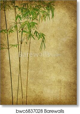 Design Of Chinese Bamboo Trees With Texture Of Handmade Paper Art