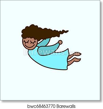 Vector Flying Cartoon African American Girl Greeting Invitation