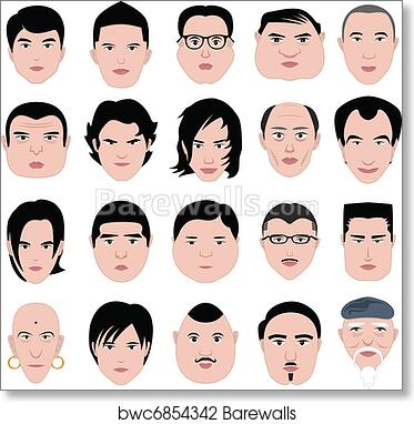 Art Print Of Man Face Shape Hairstyle Round Fat Barewalls Posters