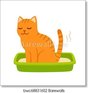 Cartoon Cat Pooping Art Print Barewalls Posters Prints Bwc68831652