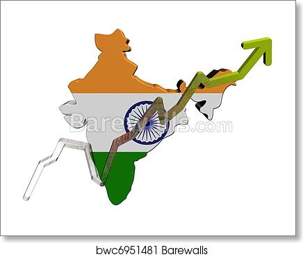India Map Flag.Rupees Graph On India Map Flag Art Print Barewalls Posters
