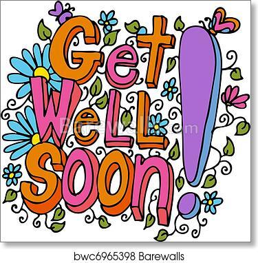 art print of get well soon message