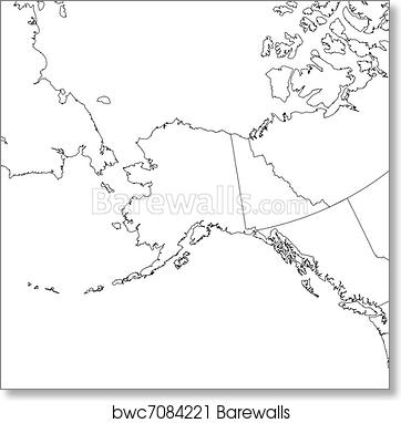 picture regarding Printable Map of Alaska identified as Blank Alaska Map artwork print poster