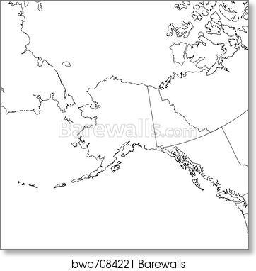 graphic regarding Printable Map of Alaska referred to as Blank Alaska Map artwork print poster