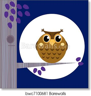Art Print Of Cute Halloween Owl On Tree Branch With Full Moon Behind