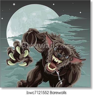 Picture Poster Gothic Horror Framed Print Fantasy Wolf Howling at the Moon
