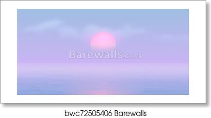 Sun Over The Sea With Sun Road And Vaporwave 90s Styled Blue And Pink Colors Art Print Barewalls Posters Prints Bwc72505406