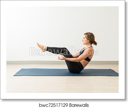 Side View Of Beautiful Woman Doing Half Boat Pose Yoga Art Print Barewalls Posters Prints Bwc72517129