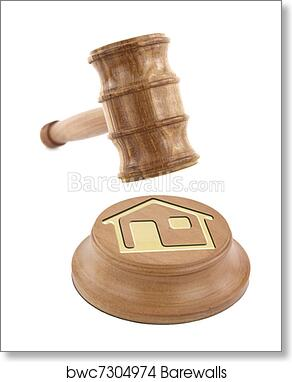 Home Design On An Auction Gavel Art Print Poster