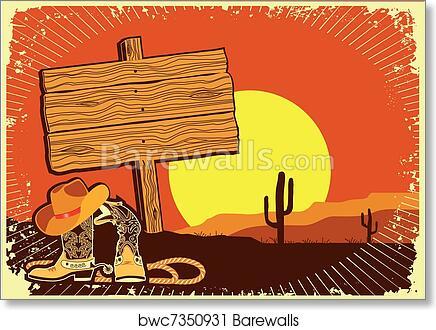 827f124a8f80c Cowboy s landscape. Grunge wild western background of sunset