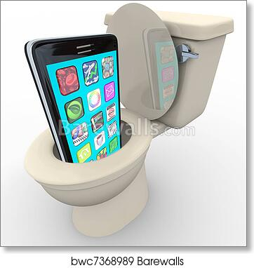 Amazing Smart Phone In Toilet Frustrated Old Model Obsolete Art Print Poster Pabps2019 Chair Design Images Pabps2019Com